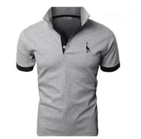 erkekler için şık polo gömlekler toptan satış-Yeni Polo Gömlek Erkekler Için Lüks Rahat Slim Fit Şık Kısa Kollu Pamuklu Tişört