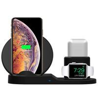 drahtloses aufladenauflage für iphone großhandel-Kabelloses Ladegerät 3 in 1 Ladestation Dock Pad Ständer für iPhone Apple Watch Airpods Schnelles kabelloses Ladegerät Dock