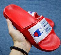 zapatos de agua unisex al por mayor-Champion slippersPara mujer Campeones Carta Sandalias de Verano Zapatilla de Verano Resbalón en Chanclas Plataforma Cuña Sandalias Playa Agua Lluvia Mulas Zapatos 35-44
