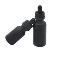 15ml uçucu yağ cam kapağı toptan satış-Buzlu siyah 15 ml 30 ml 50 ml 100 ml parfüm şişeleri ile cam damlalık uçucu eliquid yağ şişeleri çocuklardan uzakl ...