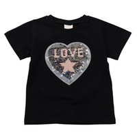 Wholesale baby girl tee pattern for sale - Group buy Baby T Shirt Children Boys Girls Summer Cotton Sequin Love Pattern T shirt Tops Blouse Short Sleeve Casual Tee Shirts