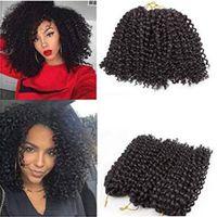 kıvırcık yay toptan satış-8 inç Kısa Marlybob Tığ Örgü Saç Uzantıları 3 Demetleri Afro Kinky Kıvırcık Sentetik Bahar Büküm Saç Örgüler Düşük Sıcaklık Fiber