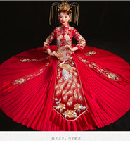 b1b87da1e Red Peacock Pleated Xiuhe Dress Oriental Wedding Clothing Bride's Wedding  toast dress Traditional Cheongsam For Oversea Chinese