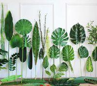 ingrosso grandi foglie artificiali-Foglie di palma tropicale artificiale Piante finte Faux Grande foglia di palma Verde verde per la disposizione dei fiori Matrimonio Home Party Decor