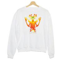 maillot blanc à manches longues achat en gros de-Hillbilly J-891 Sweatshirt comique vent flamme démon imprimer dame pull à manches longues nouvelles dames blanc col rond en coton
