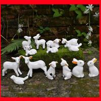 china tierfiguren großhandel-2019 ute Tier Keramik Figuren Weißer Vogel Kaninchen Schafe Figur Statuen Ornamente Handgemachte Moderne Dekorative Handwerk Wohnkultur