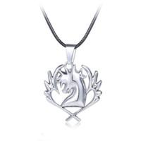 logotipo de cola de hadas collares al por mayor-Fairy Tail Necklace Guild Logo Tatuaje Colgante Anime Joyería de Moda Cuerda de Cuero para Hombres y Mujeres de Regalo