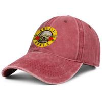 örgü güller toptan satış-Guns N 'Roses logo kırmızı denim şapka erkek ve kadın kot kap kamyon şoförü kap topu serin özel örgü şapkalar