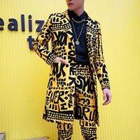 ingrosso abbigliamento giubbotto giallo-Uomo Slim Fit Blazer Giallo Giacca tuta Discoteca Stage Cantante DJ Abbigliamento Heren Colibrì Lungo Abiti Casual Blazer Masculino