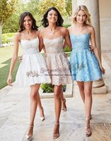 Wholesale full white graduation dress for sale - Group buy Sexy spaghetti Homecoming Dresses A Line short full Lace Mini Party Graduation Cocktail Gowns Custom Made Cheap saudi prom dresses