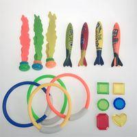 Wholesale treasures toys online - 19pcs Kid Treasure Hunt Diving Fish Thunder Ring Diamond Toy Suit Swimming Pool Child Toys Leisure lx C1