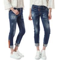 Wholesale whisker jeans resale online – designer Bleach Wash Design Women Jeans Detail Cuffed Hem Destroyed Super Skinny Crop Fit Whisker Effect Denim
