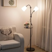 Wholesale black white acrylic painting resale online - European style modern iron acrylic painted floor Lamps adjustable E27 LED V floor lights for living room study bedside office