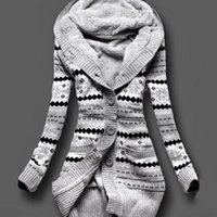 ingrosso maglioni di pile calde-Caldi delle donne inverno spesso incappucciati Cardigan Maglioni caldo pile solido allentato cappotto di maglia manica lunga Maglieria Capispalla CGU