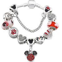 Wholesale colorful 18k bracelet resale online - New Cartoon Mickey Charm Bracelets Women Exquisite Enamel Colorful Beads Beaded Bangle for Pandora Jewelry Girls Children Gift