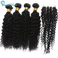Wholesale customized weave hair for sale - Group buy 3 Bundles with Closure Brazilian Virgin Hair Kinky Curly Hair Weaving Bundles Weft With PC Closure X4 Customized To