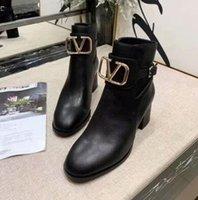 senhoras botas de cowboy curto venda por atacado-Luxo New Womens Chunky Salto 6 CM Cow Couro Outono Cowboy Martin Botas Ladies Shorts Botas SZ35-41