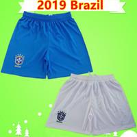 calça brasil venda por atacado-Tailândia qualidade 2019 Brasil calções de futebol mens home azul awy branca calças de futebol equipe nacional brasil Copa do Mundo de Mulheres COUTINHO VINICIUS