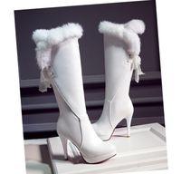 sobre as botas de pele branca do joelho venda por atacado-Hot Sale-Plus Size 34 a 40 41 42 43 44 sobre as botas do joelho de noiva sapatos de casamento Preto Branco PU botas de pele de couro