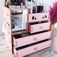 organizador de armazenamento de madeira de maquiagem venda por atacado-Junejour diy caixa de armazenamento de madeira maquiagem organizador de jóias recipiente de madeira gaveta organizador handmade caixa de armazenamento de cosméticos