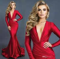 Wholesale gown for sale - 2019 New Arrival Red Mermaid Sexy Plunging V Neck Formal Evening Dresses Long Sleeves Elastic Satin Ruched Prom Gowns robe de soiree