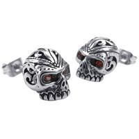 ingrosso orecchini gotici rossi-Orecchini in velluto gioielli da uomo, ghiera cranica con teschio gotico, acciaio inossidabile zirconio, argento rosso
