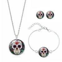 mexikanische ohrringe großhandel-Mexican Sugar Skull Schmuck Sets Für Frauen Männer Blume Skeleton Anhänger Halskette Armband Ohrstecker Day Of The Dead Urlaub Zubehör