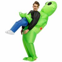 Wholesale alien cosplay for sale - Group buy Monster Halloween Inflatable Costume Green Alien Carrying Human Cosplay US halloween movie halloween costume ideas