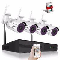 evdeki kamera kiti toptan satış-Gözetim Sistemi 4CH CCTV Wifi Kamera Sistemi 720 P / 960 P / 1080 P / 4MP Video Gözetim Kiti H.265 Ev Güvenlik Kablosuz Kamera