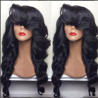 Wholesale black wavy wig bangs resale online - Natural Hairline Density b Black Long Body Wave Hair Heat Resistant Fiber Wavy Glueless Synthetic Lace Front Wigs with Side Bangs