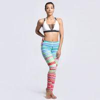 usar pantalones a cuadros de las mujeres al por mayor-Chica Yoga Leggings Plaid Check 3D Digital Completa Estiramiento Yoga Desgaste Pantalones Mujer Sportwear Jeggings Lady Fitness Lápiz en forma (Yyoga0159)