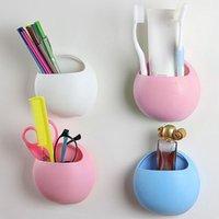 portavasos montado en la pared baño al por mayor-Útil plástico Inicio de baño cepillo de dientes titular de montaje en pared del sostenedor del lechón ventosas Organizador accesorios de baño 1 pc