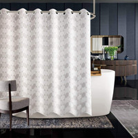 Jarl home Hotel Khaki Fabric Shower Curtain for Bathroom Jacquard Thick Polyester Waterproof Hookless Curtains Rod with Large Plastic Ring