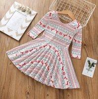 beste baumwoll-lange kleider großhandel-Neue Mädchen gestreiften Elch gedruckt Langarm-Baumwollkleid für Weihnachten 2019 das beste Geschenk für Mädchen
