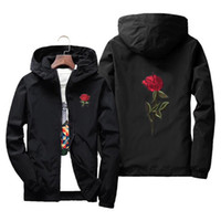 NIANJEEP primavera ed estate giacca sottile uomo manica lunga nero cerniera giacca a vento uomo hip hop rosa ricamo giacche cappotto 4xl