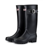 yüksek topuklu ayakkabıları bloke et toptan satış-Kadınlar Sıcak Astarlı Su Geçirmez Yağmur Çizmeleri Blok Topuk Tokaları Yuvarlak Ayak Pull-on Soğuk Hava Yüksek Kış Wellington Yalıtımlı