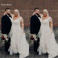 vestido longo da ocasião do casamento da luva venda por atacado-2019 Elegante Clássico Plus Size Aline Vestidos de Casamento Com Decote Em V Com Mangas Compridas Vestidos de Noiva High-end Ocasião Vestido