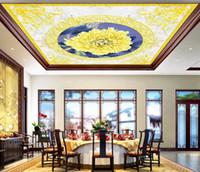 Wholesale waterproof kitchen wallpaper resale online - 3D Ceiling Wallpaper European style Custom Marble Living Room Bedroom Home Decor D Ceiling Murals Wallpapers