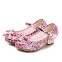 zapatos de la princesa azul de los niños al por mayor-Zapatos de chicas calientes 2019 Chicas tacones altos Moda Lentejuelas Arco Zapatos de baile para niños Rosa Azul Oro Plata Princesa Zapatos