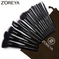 ingrosso migliore ombra di occhio nera-Zoreya Marca 15pcs Pennelli per trucco nero Set ombretto Pennello per fondotinta in polvere per il trucco Migliore combinazione di strumenti per il trucco correttore