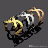 braçadeira de bronze venda por atacado-Qualidade superior e marca de material de Bronze amor punk aberto oco Bangles Design Cuff Bracelet Abotoadura Enviar Mulheres e presente da mãe