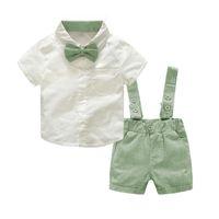 niño infantil caballeros trajes al por mayor-Del bebé de la ropa del verano de 2018 nuevos bebés varones ropa Corbata camisas + El traje de 2 piezas de vestimenta Establece Bebes señores Traje
