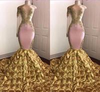 um ombro vestido de noite de ouro venda por atacado-Sereia rosa africano vestido de baile 2019 Sexy ouro Appliqued Evening formal festa vestido Pageant vestidos de manga longa Sweep trem um ombro