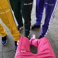 iz çocuklar toptan satış-Palmiye Melekler Pantolon Erkekler Moda Fermuar Ayak Bileği Joggers Pantolon Vintage Çizgili Parça Pantolon Sweatpants Boy Hip Hop Giyim Streetwear PXG1025