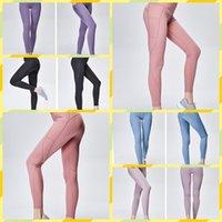 ingrosso pantaloni stretti ragazza stretch-Pantaloni lunghi Yoga Yoga 2019 con tasche Tasche Fitness da allenamento Stretch Pantalone asciugatura rapida Pantaloni a vita alta Pantaloni slim per ragazze