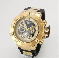 Wholesale ceramic bands for watches resale online - HOT INVICTA Luxury Gold Watch All sub dials working Men Sport Quartz Watches Chronograph Auto date rubber band Wrist Watch for male gift