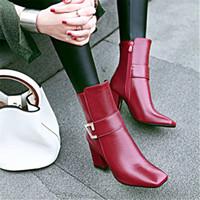 Wholesale female boot footwear resale online - Ankle Strap High Heels Women Boots Square head Footwear Zip Female Booties Pu Shoes Woman Winter Plus Size