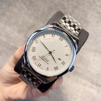 calendários relógio de aço inoxidável venda por atacado-2019 clássico relógio de moda de qualidade superior relógio de pulso grande homem de discagem com calendário de data de aço inoxidável relógio masculino agradável de luxo vestido relógio popular
