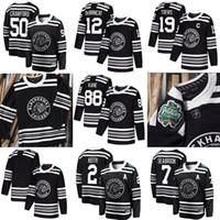 ingrosso nero kane-2019 Chicago Blackhawks maglia da hockey nera 88 Patrick Kane 12 Alex DeBrincat cucita 2 Duncan Keith 19 Jonathan Toews 50 Corey Crawford