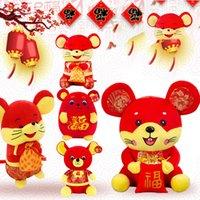 çince peluş oyuncak bebek toptan satış-Sıçan Maskot fare Çin Yılı hayvanlar Tang Paketi Fortune Fare peluş oyuncaklar Tatil kutlama Yılbaşı Hediyeleri dolması bebek çocuk oyuncakları